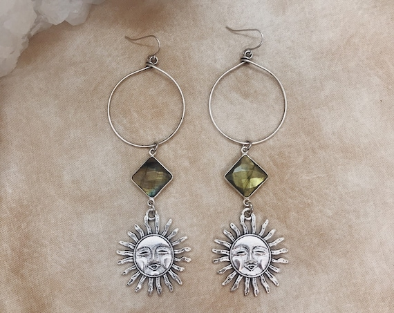 Aestas Hoop Earrings in Silver or Brass with Sun Faces and Labradorite