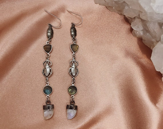 Khepri Scarab and Crystal Earrings
