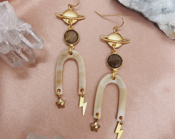 Elements Earrings with Saturn, Star, and Lightning Bolt Charms with Labradorite