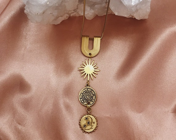 Parcae Necklace with Vintage Moon and Stars Charm