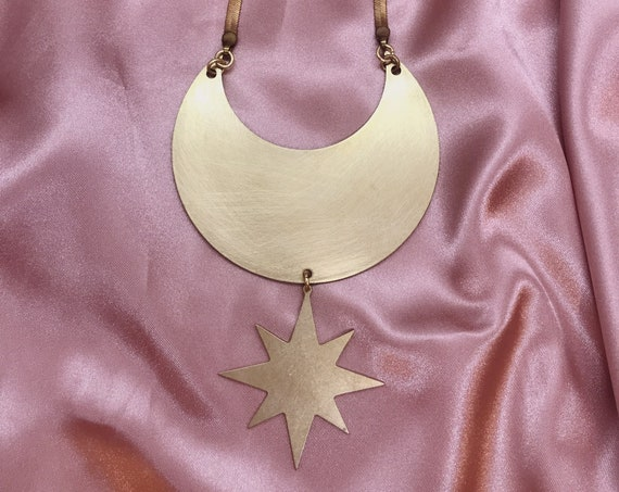 Cosmic Shield Necklace with Star and Crescent