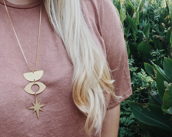 Symbology Necklace with Eye, Half Moon, and Star