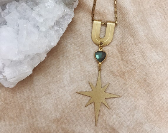 Spirit Guide Necklace with Brass Star and Labradorite