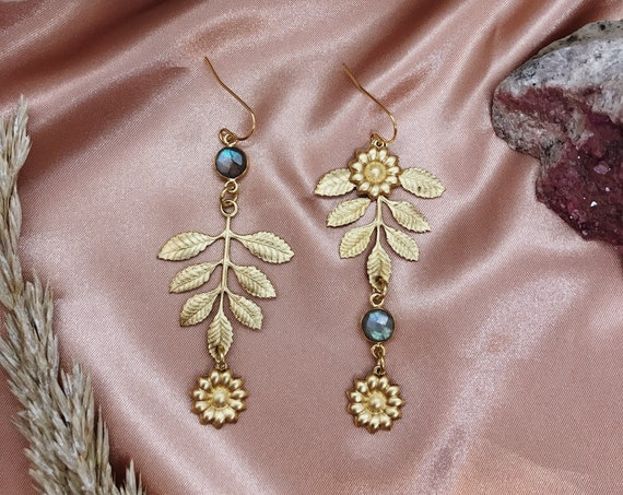 Flower Child Larger Version Mismatched Floral Dew Drop Earrings with Vintage Brass Flowers and Labradorite
