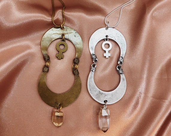 Anat Goddess Necklace with Venus Charm and Smokey Quartz or Clear Quartz Point in Bronze or Silver