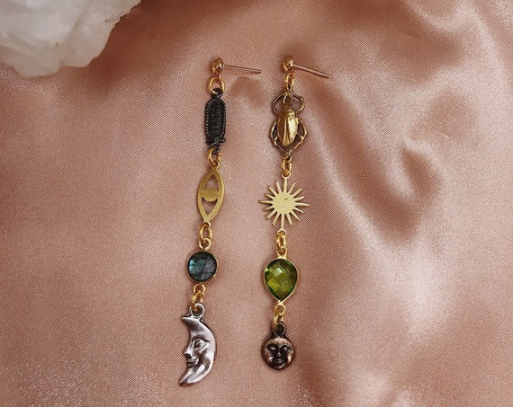 Moon Worship Mismatched Celestial Egyptian Earrings with Vintage Charms and Gemstones