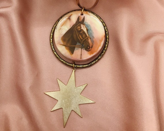 Space Horse Necklace with Vintage Horse Pendant and Star