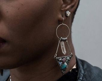 Bona Dea Crystal Cluster Triangle Earrings with Quartz