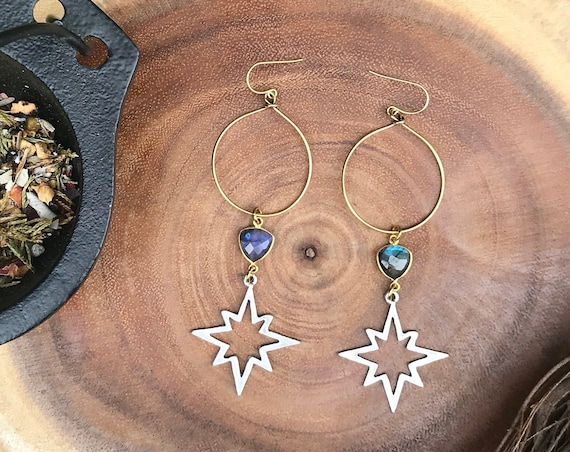 Altair Star and Labradorite Hoop Earrings / Tennessee Witch Collection