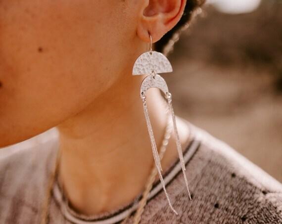 Disco Goddess Earrings in Brass or Silver