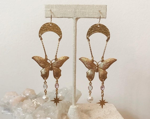 Enchanted Butterfly Earrings with Crystals