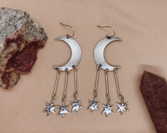 Sisters of the Moon-Nova Edition Earrings with Silver Crescent Moons and Silver Dangling Stars