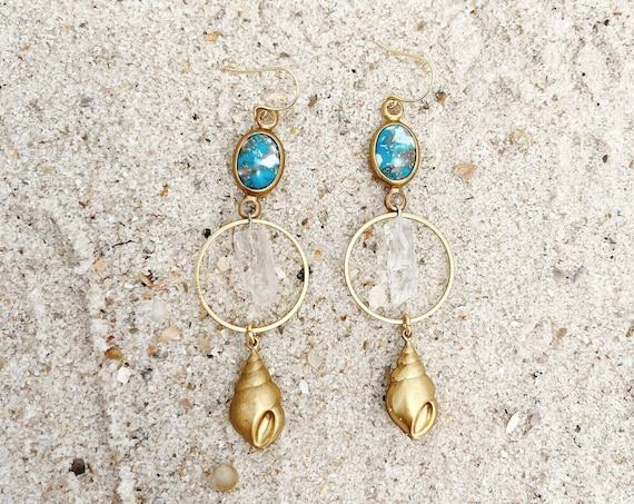 Naida Mermaid Earrings with Quartz