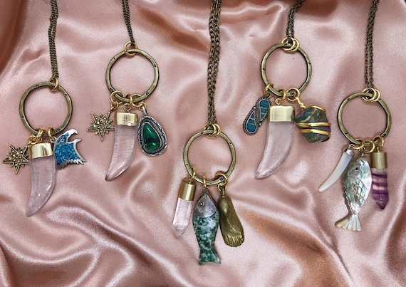 Lucky Talismans, One of a Kind Necklaces with Vintage Charms and Crystals