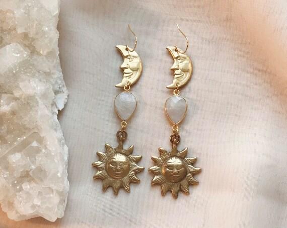 Mystic Sun Earrings with Moonstone