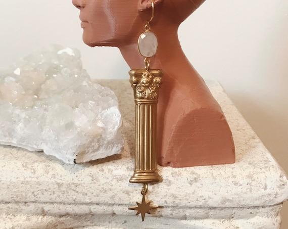 Column Earrings with Moonstone