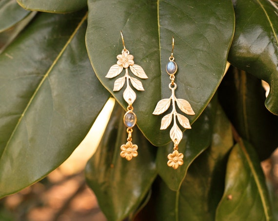 Flower Child Mismatched Floral Dew Drop Earrings with Vintage Brass Flowers and Labradorite