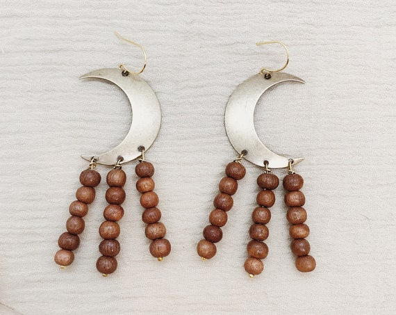 Sisters of the Moon-Earthy Edition Earrings with Brass Moons and Wooden Beads