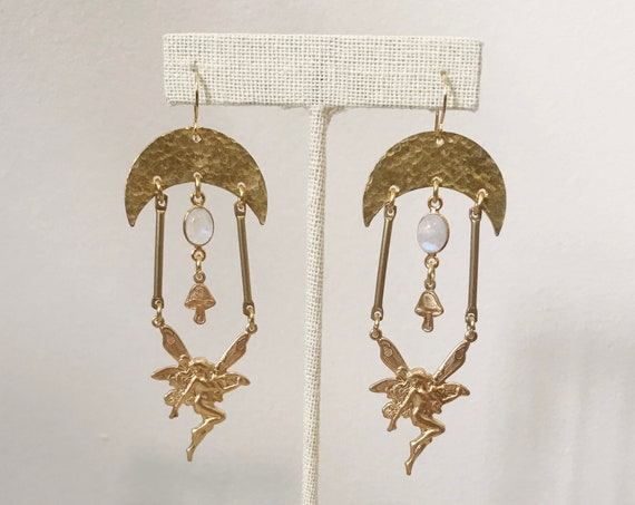 Fairy Garden Earrings with Moonstone in Gold or Silver
