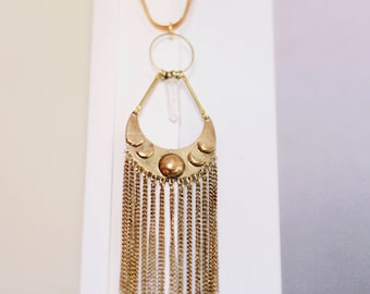 Moon Priestess Necklace with Phases of the Moon, Metal Fringe, Quartz Crystal, and Vintage Herringbone Chain