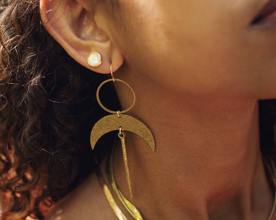 Anuket Earrings with Brass or Silver Crescents and Sticks