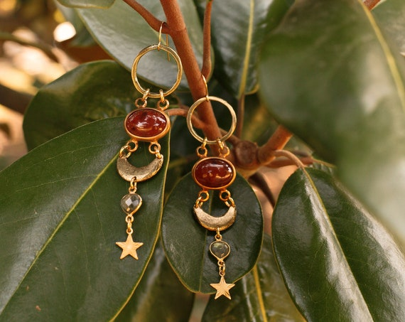 Mabon Earrings with Labradorite and Vintage Brass Stars