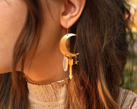 Special Edition Sisters of the Moon Earrings in Brass or Silver with Quartz Crystals