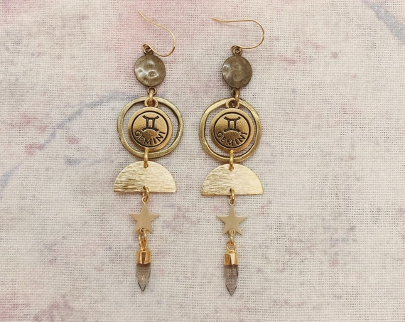 Gemini or Taurus Zodiac Earrings with Smokey Quartz