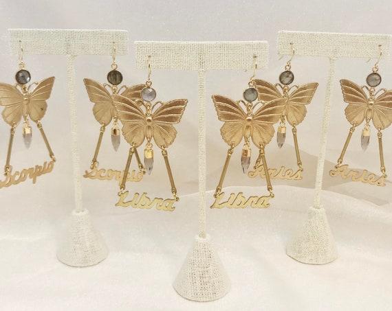 Zodiac Butterfly Earrings with Labradorite and Smokey Quartz