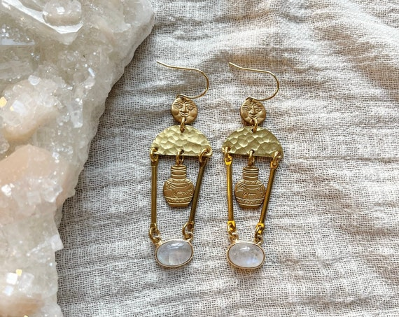 Ancient Treasure Earrings with Moonstone