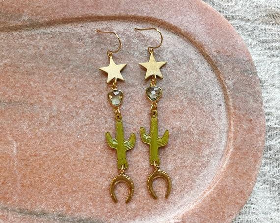 Charmed Cactus Earrings in Green or Pink