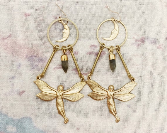 Fairy Queen Earrings with Moons and Labradorite