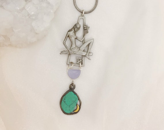 Virgo Zodiac Necklace with Vintage Turquoise Moon Pendant and Purple Hydro Chalcedony