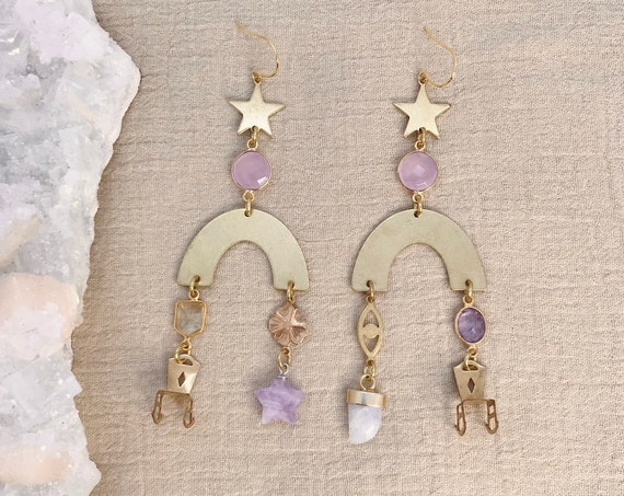 Charmed Earrings with Vintage Charms and Crystals