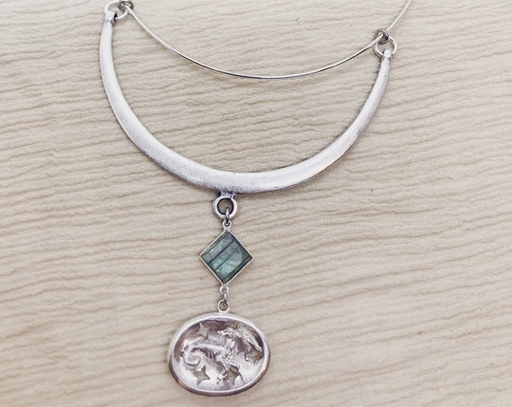 Capricorn Zodiac Silver Choker Necklace with Labradorite