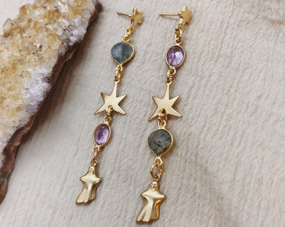 Ghosted Earrings with Amethyst, Prehnite, and Ghost and Star Charms