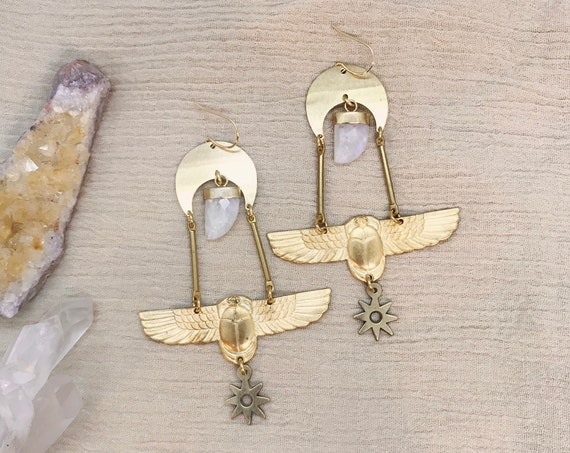 Flying Under the Moon Earrings with Vintage Egyptian Scarabs, Moonstone, and Stars
