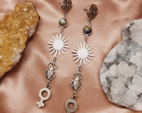 Spellwork Earrings with Vintage Egyptian Amulets, Venus Charms, Man in the Moon Studs, and Labradorite