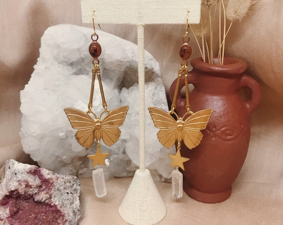 Butterfly Maiden Earrings with Quartz