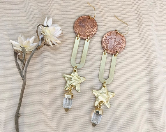 Egyptian Coin Earrings with Quartz