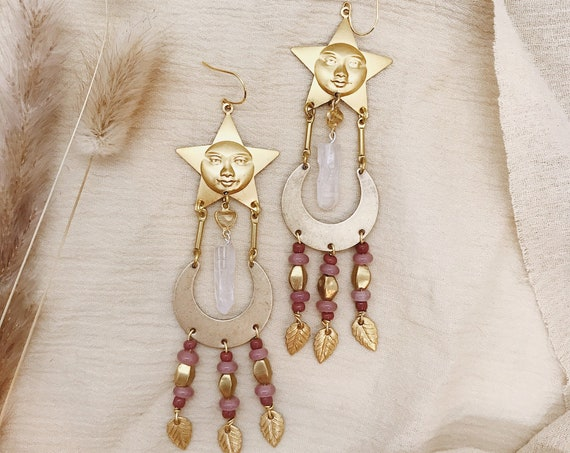 Athena Beaded Earrings with Citrine and Quartz Crystals