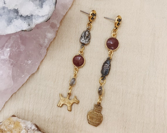 Archeologist Earrings with Vintage Egyptian Charms, Moon Face Studs, Red Jasper, and Labradorite