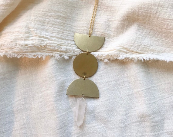 Triple Goddess Necklace with Quartz Crystal