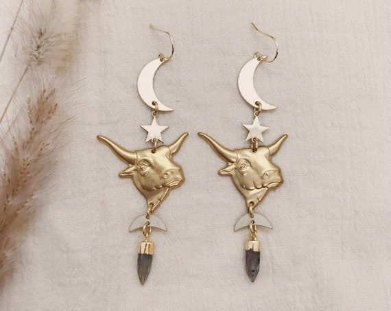 Taurus Zodiac Earrings with Labradorite