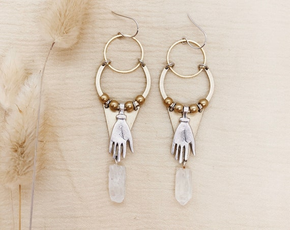 Spell Bound Earrings with Quartz Crystals