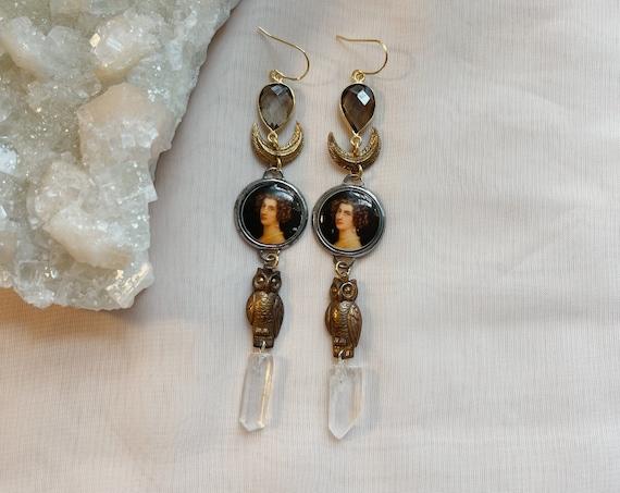 Nadja Earrings with Smokey Quartz and Quartz Points