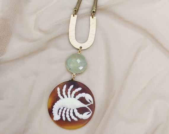 Cancer Zodiac Necklace with Prehnite