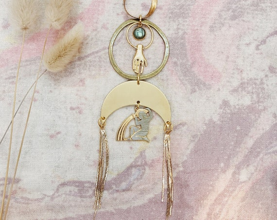 Aquarius Zodiac Necklace with Labradorite and  Gold Hand