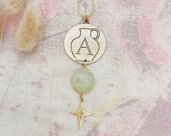 Aquarius Zodiac Necklace with Prehnite