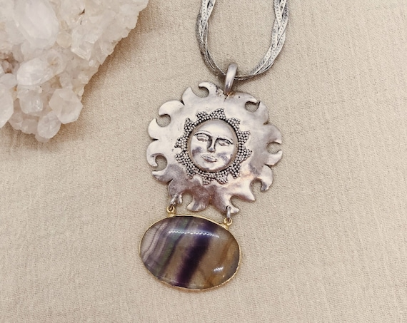 Groovy Sun Necklace with Vintage Sun and Fluorite